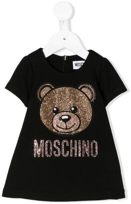 Moschino Kids rhinestone bear T-shirt dress