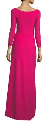 Chiara Boni Kay Faux-Wrap Long-Sleeve Evening Gown