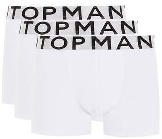 Topman Mens White With Silver Waistband Trunks 3 Pack*