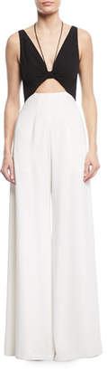 Jill Stuart Jackie Two-Tone Cutout Jumpsuit w/ Pockets