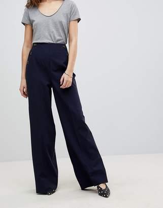 Asos Design DESIGN Button Pocket Wide Leg Trouser