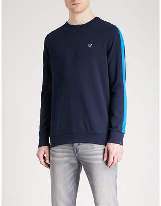 True Religion Side-stripe cotton-blend jersey jumper