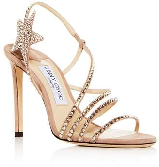 f91340a5561f Jimmy Choo Women s Lynn 100 Embellished Slingback High-Heel Sandals