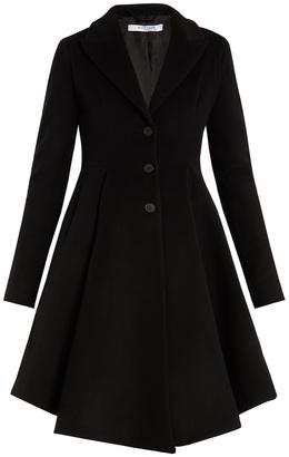 Single-breasted peak-lapel wool-blend coat