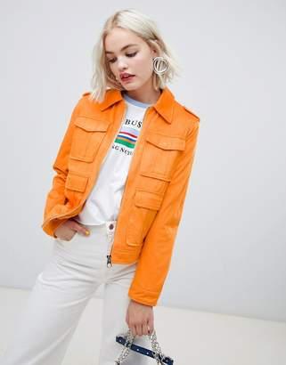 Asos Western Pocket Detailed Leather Look Jacket
