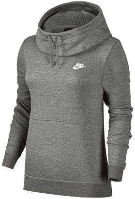 Nike Womens Funnel Neck Hoodie Grey / White XS Adult