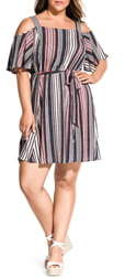 City Chic Rose Stripe Cold Shoulder Dress
