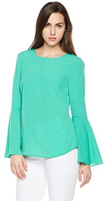 Suite Alice Flare Sleeve Opening Round Neck Blouse