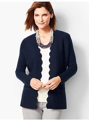 Talbots Merino Scallop-Edge Sweater Jacket