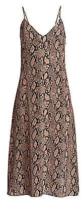 Frame Women's Python Print Silk Slip Dress