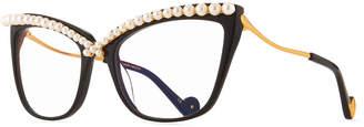 Karlsson Anna Karin Lusciousness Divine Pearl Cat-Eye Optical Frames, Black