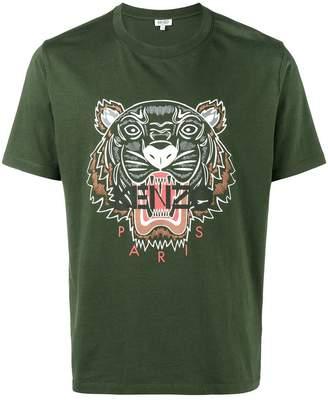 Kenzo tiger print khaki t-shirt