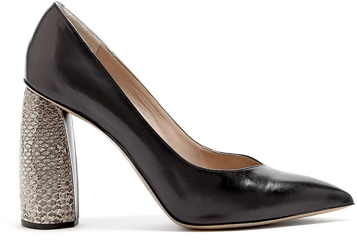Marc Jacobs Snakeskin Block Heel Pointed Court Shoes