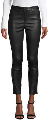 Theory Cropped Leather Pants