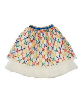 Gucci Girls' Iconic Embroidered Tulle Skirt, Size 12-36 Months