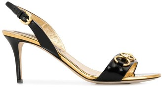 Emilio Pucci Chain Embellished Patent Leather Slingback Sandals
