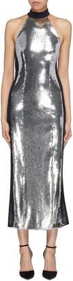 Galvan Mesh stripe outseam sequin sleeveless dress