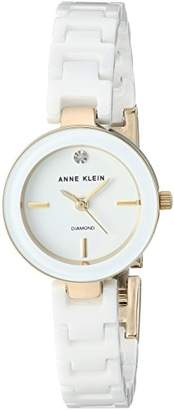 Anne Klein Women's AK/2660WTGB Diamond-Accented Gold-Tone and White Ceramic Bracelet Watch