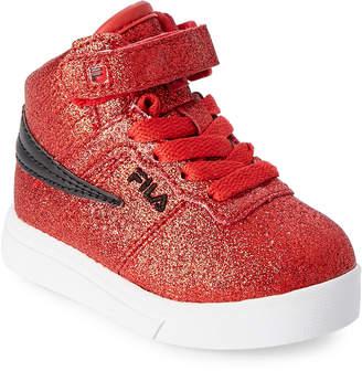 Fila Toddler Girls) Fire Red & Black Vulc 13 Glitter Blast High-Top Sneakers