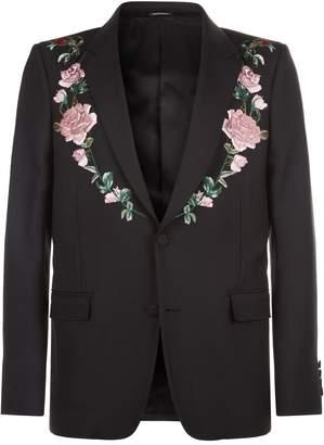 Alexander McQueen Embroidered Rose Blazer