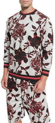 McQ Alexander McQueen Floral-Print Crewneck Sweatshirt with Striped Trim, Gray $315 thestylecure.com