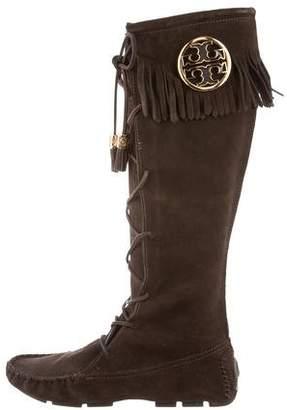 Tory Burch Embellished Fringe Knee-Boots