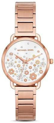 Michael Kors Rose Gold-Tone Portia Floral Pavé Watch, 32mm