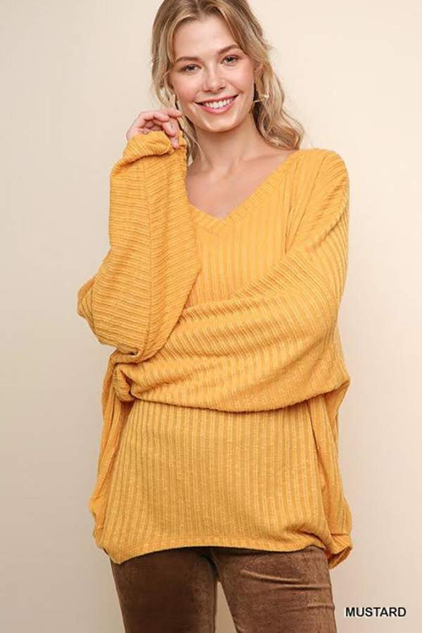 Umgee Ribbed V-Neck Sweater