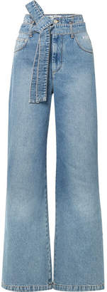 MSGM Belted High-rise Wide-leg Jeans - Mid denim