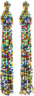 Kenneth Jay Lane Rainbow Seed Bead Tassel Earrings