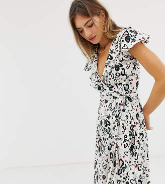 Lily & Lionel Exclusive midi wrap dress in animal doodle