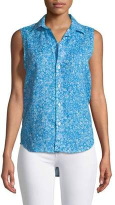 Frank And Eileen Fiona Sleeveless Button-Down Floral-Print Linen Shirt