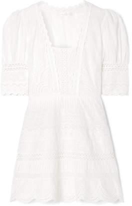LoveShackFancy Kristen Broderie Anglaise Cotton Mini Dress - Ivory
