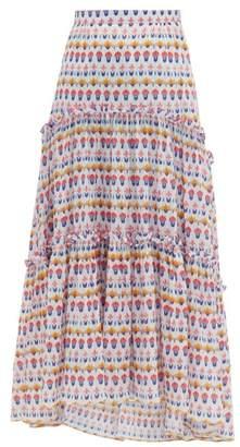 IPSA Beulah Floral Print Tired Cotton Poplin Midi Skirt - Womens - White Multi
