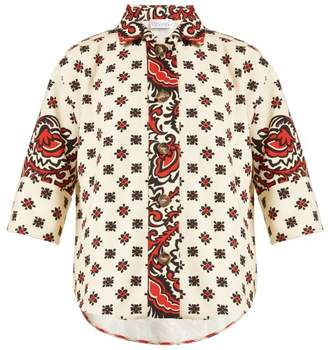 RED Valentino Paisley Floral Print Cotton Shirt - Womens - Red Multi