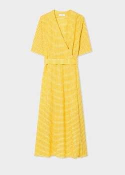 Women's Yellow Gingham Wrap Dress