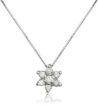 Forzieri 0.11 ct Diamond Flower 18K Gold Pendant Necklace