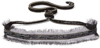Chan Luu Beaded Chiffon And Silver-tone Choker - Black