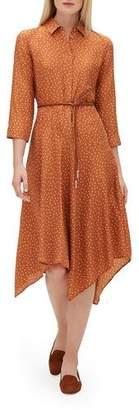 Lafayette 148 New York Rizzo 3/4-Sleeve Brilliant Boxes Silk Dress w/ Belt