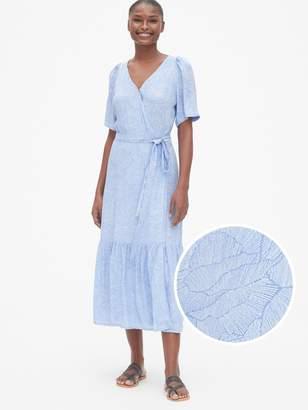 Gap Floral Print Ruffle-Hem Midi Wrap Dress
