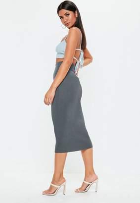 Missguided Gray Knit Bodycon Midi Skirt
