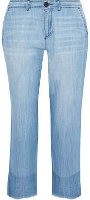 Joie Marinne Cropped Frayed Mid-Rise Straight-Leg Jeans