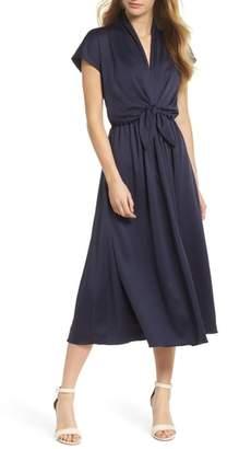 Gal Meets Glam Margie Tie Waist Satin Midi Dress