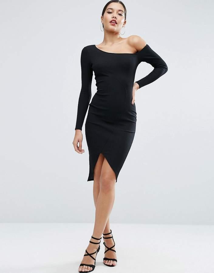 ASOS Rib Long Sleeve Off Shoulder Midi Bodycon Dress