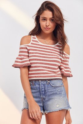 Kimchi Blue Striped Cold-Shoulder Cropped Sweater $59 thestylecure.com