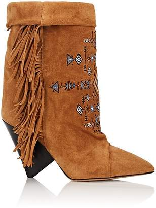 Isabel Marant Women's Lesten Embroidered Suede Boots