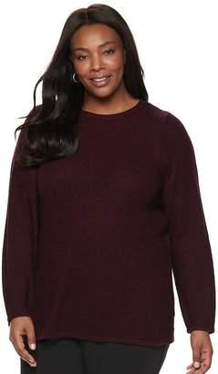 Croft & Barrow Plus Size Seed-Stitch Crewneck Sweater
