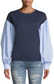 Shirred Sleeve Combo Sweater Top