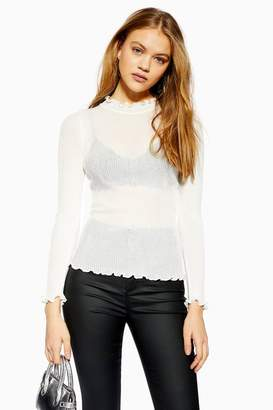Topshop Sheer Lettuce Edge Knitted Top