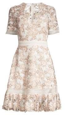 Shoshanna Toscana Floral Lace A-Line Dress